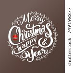 merry christmas and happy new...   Shutterstock .eps vector #749198377