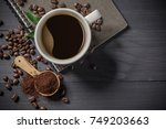 hot coffee cup with premium... | Shutterstock . vector #749203663