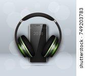 image headphones on smartphone... | Shutterstock .eps vector #749203783