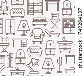 furniture seamless pattern with ... | Shutterstock .eps vector #749204137