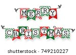 christmas bunting flags  | Shutterstock . vector #749210227