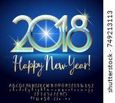 vector chic happy new year 2018 ... | Shutterstock .eps vector #749213113