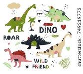 set of cute vector fantastic... | Shutterstock .eps vector #749219773