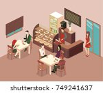 isometric interior of coffee... | Shutterstock .eps vector #749241637