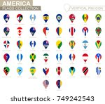 vertical pin icon  america flag ... | Shutterstock .eps vector #749242543