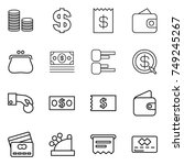 thin line icon set   coin stack ... | Shutterstock .eps vector #749245267