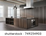 modern kitchen interior corner... | Shutterstock . vector #749254903