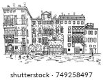 vector sketch of grand canal in ... | Shutterstock .eps vector #749258497