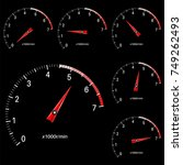 tachometer scale on black... | Shutterstock .eps vector #749262493