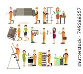 vector illustration of plumber  ... | Shutterstock .eps vector #749266357