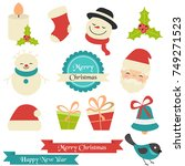 christmas icons set. elements... | Shutterstock .eps vector #749271523