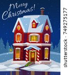 festive cozy decorated house or ... | Shutterstock .eps vector #749275177