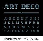 vector of art deco font and... | Shutterstock .eps vector #749277883