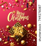 christmas and new years red... | Shutterstock .eps vector #749278387