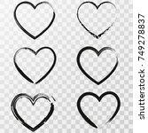 set of six hand drawn heart....   Shutterstock .eps vector #749278837