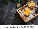 hot buttered rum cocktail with... | Shutterstock . vector #749282503