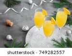 mimosa festive drink for... | Shutterstock . vector #749282557