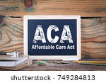 aca  affordable care act.... | Shutterstock . vector #749284813