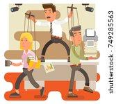 control freak male boss at work ... | Shutterstock .eps vector #749285563