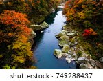 the changing color of the trees ... | Shutterstock . vector #749288437