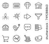 thin line icon set   globe ...
