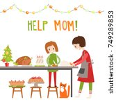 mom and daughter cooking... | Shutterstock .eps vector #749289853
