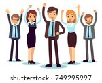 happy office people. successful ... | Shutterstock .eps vector #749295997