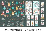 set of christmas and new year... | Shutterstock .eps vector #749301157