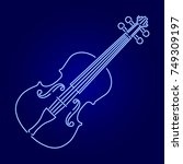 violin from glowing blue neon... | Shutterstock .eps vector #749309197