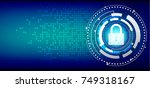 cyber security concept   closed ... | Shutterstock .eps vector #749318167