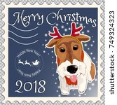 postage stamp with a dog fox... | Shutterstock .eps vector #749324323