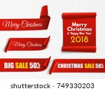 set of red christmas banners.... | Shutterstock .eps vector #749330203