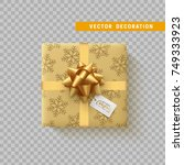 gift box with bow and ribbon... | Shutterstock .eps vector #749333923