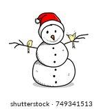 snowman wearing santa hat...   Shutterstock .eps vector #749341513