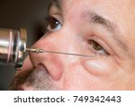 examination of the sick eye and ... | Shutterstock . vector #749342443