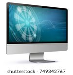 computer screen with technology ... | Shutterstock .eps vector #749342767