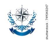 navigation compass emblem ... | Shutterstock .eps vector #749343247