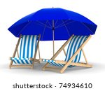 Two Deckchair And Parasol On...