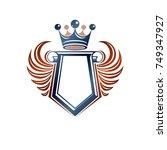 blank heraldic coat of arms... | Shutterstock .eps vector #749347927