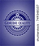 genuine quality emblem with... | Shutterstock .eps vector #749348107