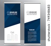 blue roll up business brochure... | Shutterstock .eps vector #749348683