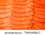 sliced salmon fillet. close up... | Shutterstock . vector #749349817