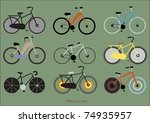 bicycles vintage wallpaper | Shutterstock .eps vector #74935957