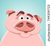 funny pig. cute avatar of...   Shutterstock .eps vector #749359723