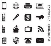 communication icons. black flat ... | Shutterstock .eps vector #749361523