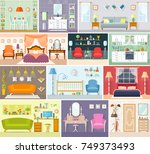 set of vector interiors in a... | Shutterstock .eps vector #749373493
