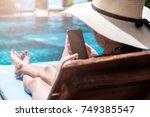 beautiful girl woman with big...   Shutterstock . vector #749385547