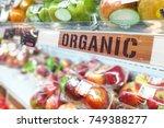 organic food signage on modern...   Shutterstock . vector #749388277