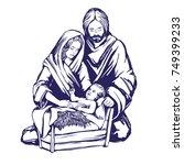 christmas story. mary  joseph... | Shutterstock .eps vector #749399233