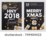 christmas and happy new year... | Shutterstock .eps vector #749404423